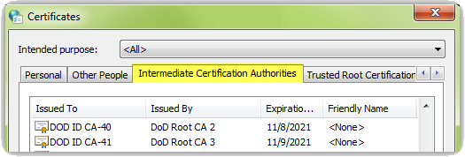 Select the Intermediate Certification Authorities tab going across the top of the Certificates window