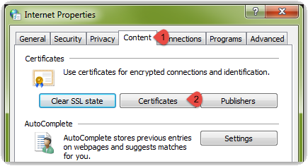 Select the Content tab going across the top of the Internet Properties window and then select the Certificates button
