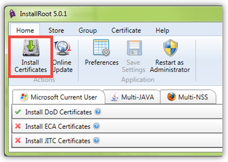 Select the Install Certification button