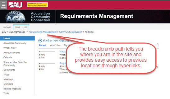 The breadcrumb path tells you where you are and how you got there. Parts are hyperlinked to provide easy access back.