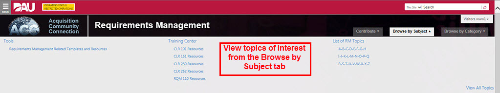 View topics of interest within the site from the Browse by Subject tab.