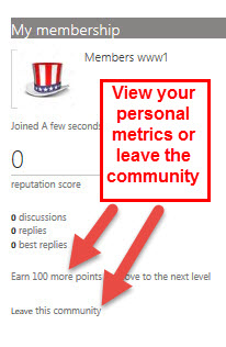 View your personal metrics or leave the community from the Members page.