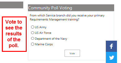 Voting in the community poll will allow you to view the to-date results.