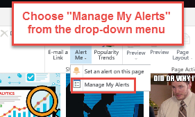 Choose Manage my Alerts