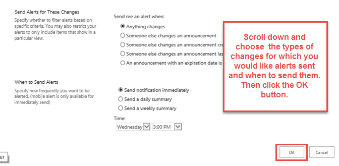 Choose the types of changes and the frequency of alerts