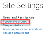 Under Users and Permissions, choose 'People and groups'