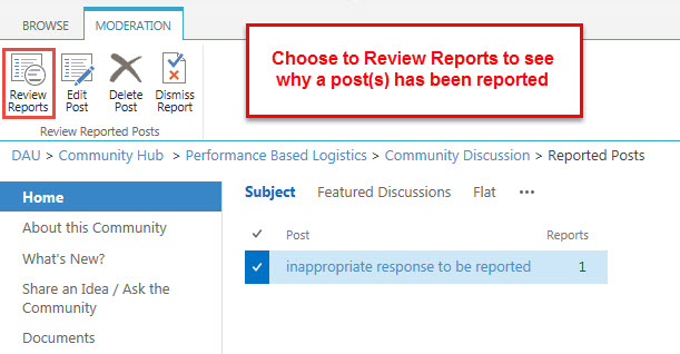 Choose to Review Reports to see why a post has been reported.