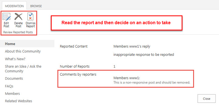 Read the report and then decide on the appropriate action to take.