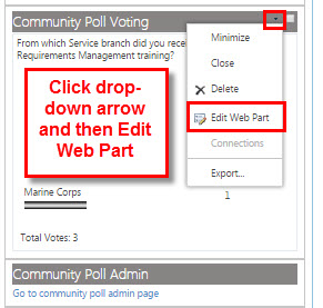 Click the drop-down arrow next to the poll web part and choose Edit Web Part.