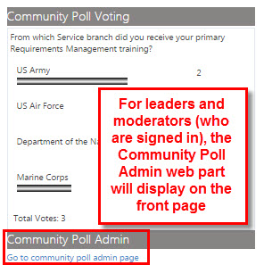 Go to the poll admin page to create a poll.