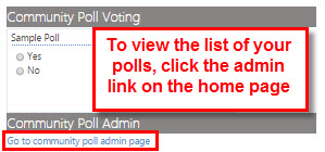 Go to poll admin page to view your list of polls.